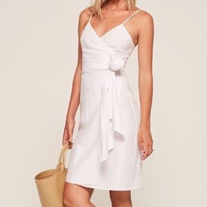 Reformation white wrap dress.