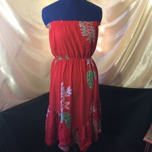 Vintage 1960s Floral Red Strapless Dress
