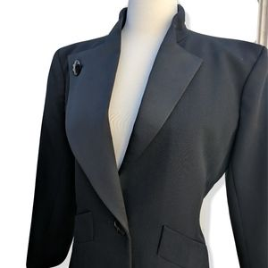 Black wool YSL suit w satin Asymmetrical lapels 38
