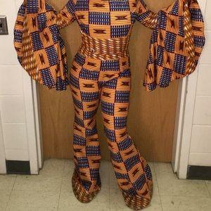 African print jumpsuit.