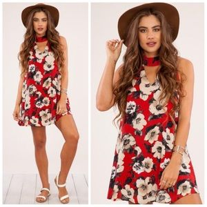 Dresses & Skirts - New red fall Floral mock neck keyhole dress