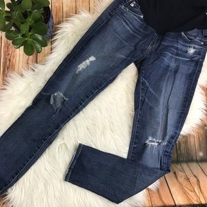 AG maternity collection, distress skinny jeans