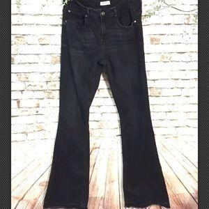 Zara Sz 10 black distressed wide leg Jeans