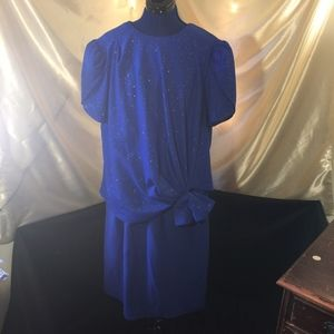 Vintage 1980s Blue Glitter Dress Gown
