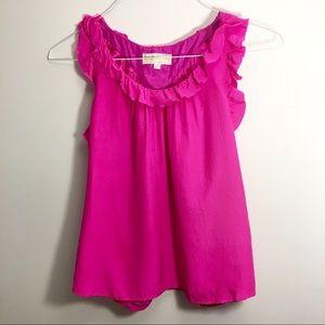 Britt Ryan Silk Pink Ruffle Top Size 4