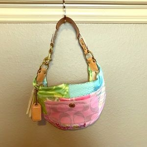 Coach colorful patched shoulder bag