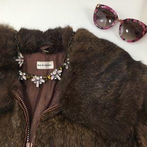 Badass Vintage Rabbit Fur Bomber Jacket