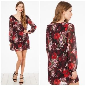 Dresses & Skirts - New S soft Floral red dress with sheer sleeves