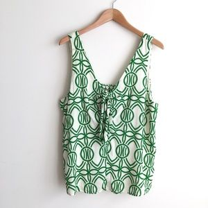 Maeve Green Verena Tie-Front Blouse
