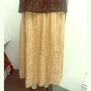 Metallic gold pleated skirt