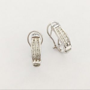 Sterling silver and diamond omega back earrings