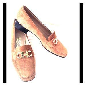 FERRAGAMO tan suede shoes in excellent condition!