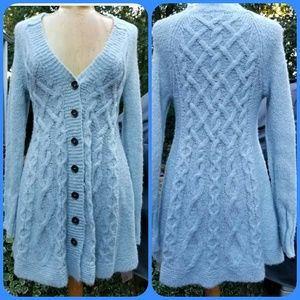 Free People Long Cable Knit Cardigan Sweater dress
