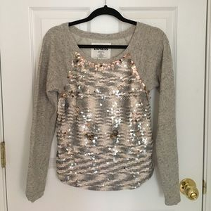 Express Love Fish-scale Gray Cotton Blend Sweater