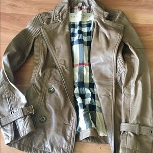 Dark tan Leather Burberry Jacket