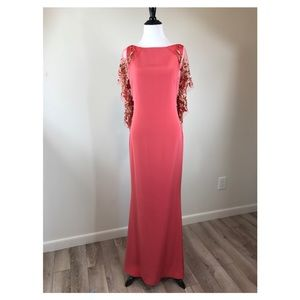 Notte by Marchesa Silk Embroidered Cape Gown Size4