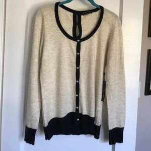 Bcbg max azria. Cream black trim angora sweater L