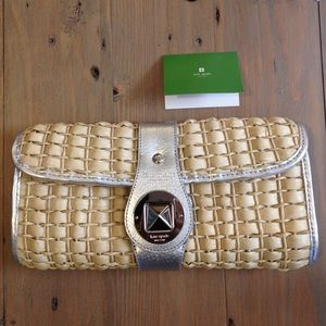 Kate Spade straw and silver clutch