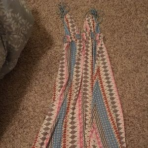 Lulus multicolored patterned tie maxi dress, XS