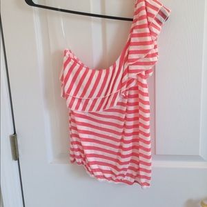 Pink and white one shoulder top