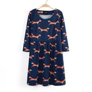 Fox print babydoll dress