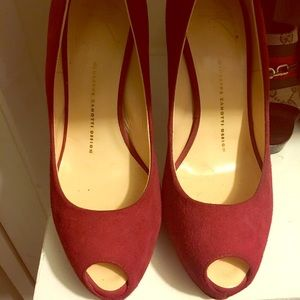 Giuseppe Zanotti suede peep toe shoe