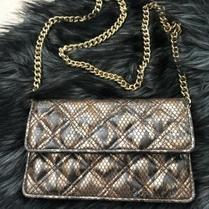 MARC JACOBS Gold Croc Texture Quilted Clutch Purse