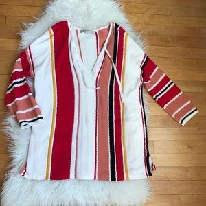 LOFT Cream Red Striped Sweater 3/4 Sleeve Cotton L