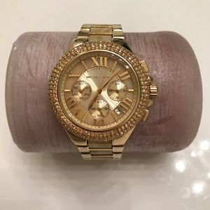 Michael Kors Goldtone Watch with Pave Crystals