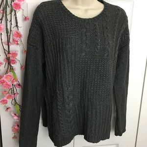 Abercrombie & Fitch Gray Ribbed Thick Sweater