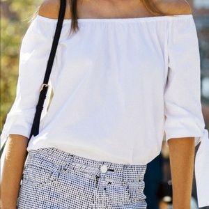 Zara white cotton off shoulder top