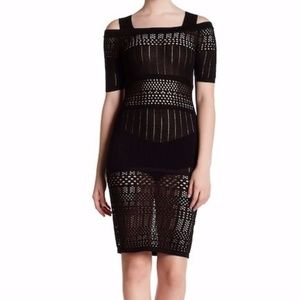 Bodycon Cold Shoulder Embroidered Knit Dress (NWT)