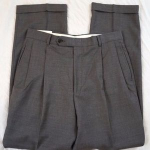 Nautica Brantley Pleated Wool Gray Pants 32 X 32