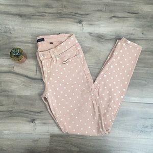 bebe skinny beige jeans with white polka dots