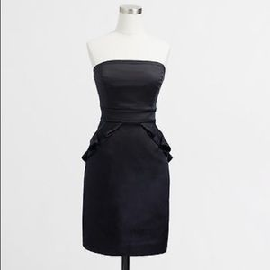Jcrew black strapless cocktail dress