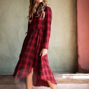 Flannel pattern high low dress