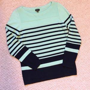 Merino Wool Talbots Navy & Mint Stripe Sweater
