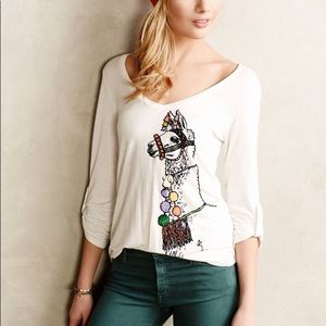 Anthropologie Tee Medium Llama Porridge