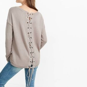Express lace up back sweater ✨