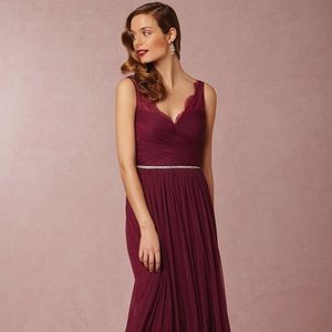 BHLDN Black Cherry Fleur Bridesmaids Dress