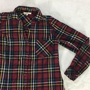 Skies Are Blue button collar long sleeve plaid top