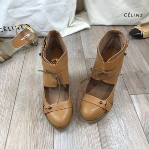 Anthropologie Lucky Penny Wedge Booties Size 38