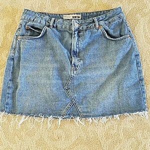 Women's Topshop fringed Jean skirt
