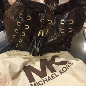 Michael Kors brown snakeskin shoulder handbag hobo