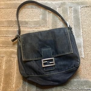 FENDI - large classic denim satchel