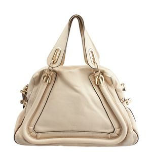 Chloe Large Paraty Cream Leather Satchel 136350