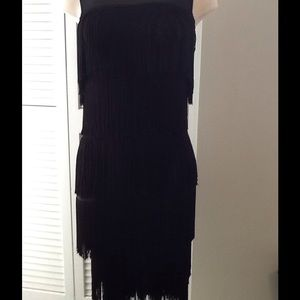 Black body contouring flapper dress, stretch knit