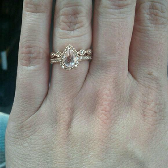 Zales Jewelry Rose Gold Diamond And Morganite Wedding Ring Set Poshmark