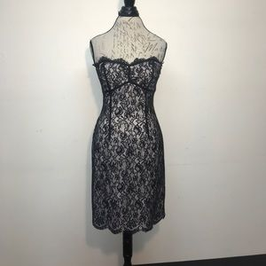 WHBM Strapless Lace Overlay Dress
