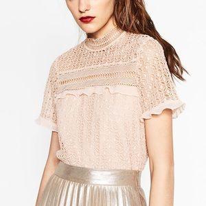 Zara Woman Blush Lace Crochet Ruffle Blouse